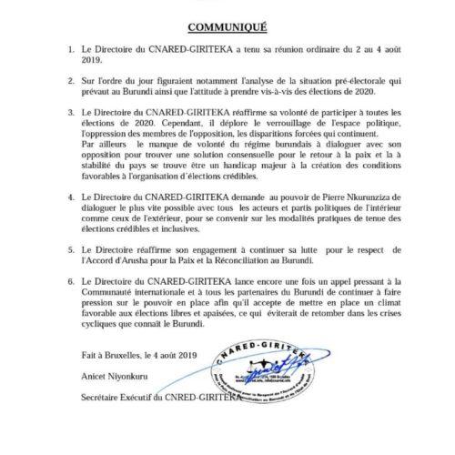 ÉLECTIONS 2020 : le CNARED pose des conditions pour participer aux élections
