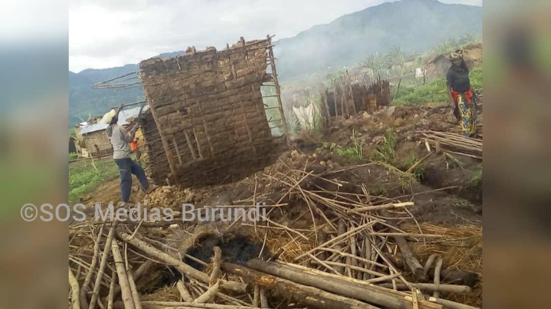 Des habitations détruites à Nyarure, mai 2021